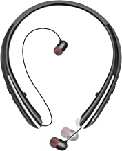 Bluetooth Headphones, Bluenin Wireless Neckband Headset with Retractable Earbuds,Sports Sweatproof Noise Cancelling Stereo Earphones with Mic(Black)