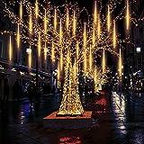EEIEER Meteoros Lluvia Luces, Impermeabilizan 50cm 10 Tubos 540 LED de Luces Led Con Enchufe de la EU para Festival de Decoración del árbol de Jardin de Navidad (Blanco cálido)