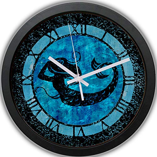 "CZHEZEE Mermaid in The Ocean - Wall Clock Non-Ticking - Silent Wall Clock - Rustic Clock - Roman Numeral Clock - 10"" Decorative Wall Clock Battery Operated - Contemporary Creative Wall Clock Round"
