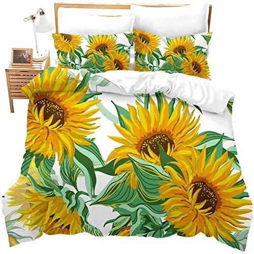 zzkds Home Bettwäsche Set König Romantische Blumen Jugend Erwachsene Tröster Set 3 Stück Yellow Decker Blumen Tröster Abdeckung 3D Sonnenblume Bettwäsche Bettbezug mit 2 Kissen Shams Krawatten