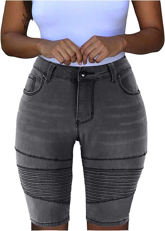 unisex Smileyth Women Summer Denim Shorts Rise Atlanta Mall Stretchy Mid Distressed