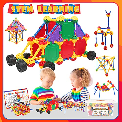 STEM Building Toys for Kids Ages 4-8, Educational STEM Learning Toys with Storage Box, STEM Tinker Toys Kit, Fun Blocks Creative Construction Engineering Toy Gift for Boys & Girls (164 Pcs)