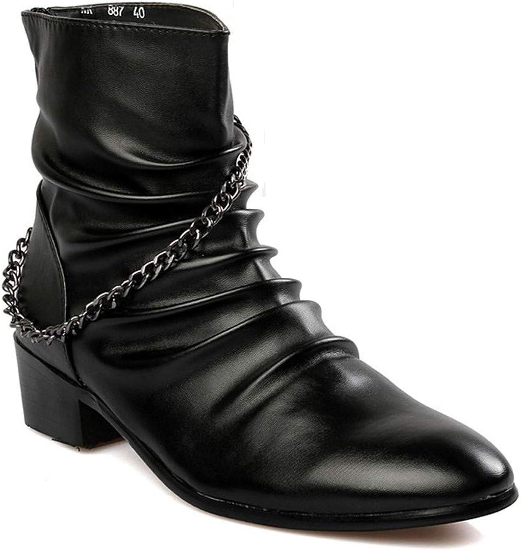 Jiahe Herren Martin Stiefel Stiefel Stiefel Persönlichkeit Kette Stiefel Abriebfeste Trend Plissee Spitzen Schuhe für Herren,38  25e103