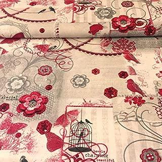 Tela por metros para Patchwork - 100% algodón - 160 cm ancho - Largo a elección de 50 en 50 cm | Romántico. Mariposas, pájaros y flores