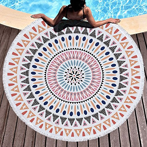 Indisches Mandala Strandtuch Groß Rund Microfaser Strandhandtuch Hippie Boho Stranddecke Badetuch Picknickdecke Wandbehang Yoga Matten 150cm