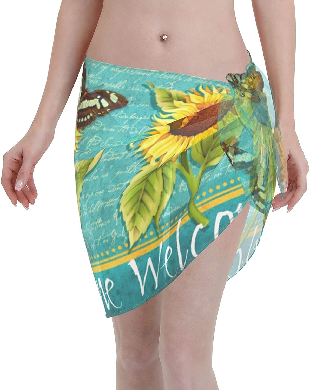 Reindeer Horn Women Short Sunflower Welcome Sarongs Cover Ups Beach Chiffon Sarong Bikini Swimwear Black