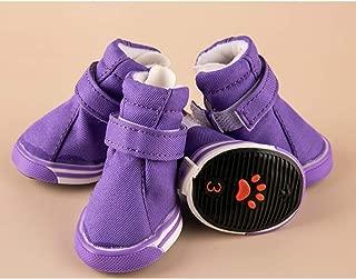 SENERY 4Pcs/Set Canvas Dog Shoes Autumn Winter Anti Slip Chihuahua Little Small Animal Puppies Cat Boot
