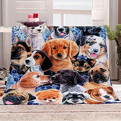 SHOMEY Manta de Franela y Sherpa Perro Animal 180x200 cm Mantas para Sofás Multifuncional Microfibra Manta Polar para sofá, Cama, Viajes, Adultos, niños