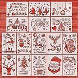 Kesote 16x Schablonen Weihnachten Zeichnen Wiederverwendbar Dotting Schablone für Basteln DIY (26 x 18 cm)