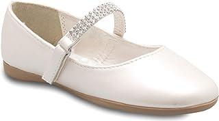 Olivia K Girls Mary Jane Ballet Flat - Rhinestone on Strap - Easy Velcro Slip On