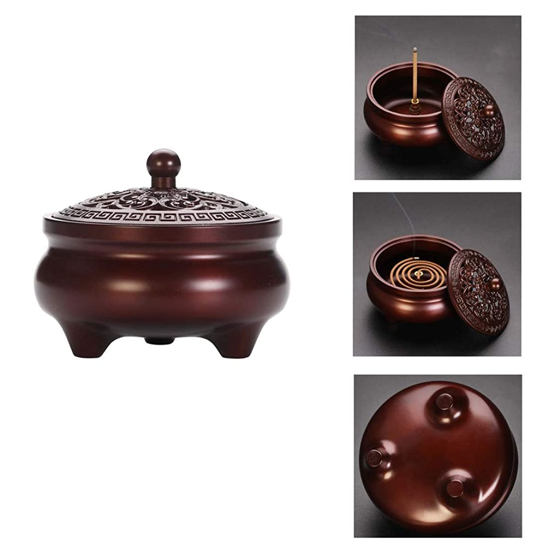 バスタブとティーム振る芳香器?アロマバーナー 純銅製メカニズム香炉シンプルでエレガントな香炉内三脚アロマセラピー炉 アロマバーナー (Color : Purple Lotus)