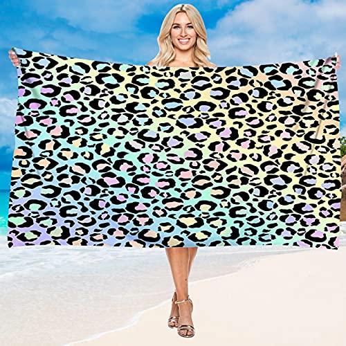Toalla De Playa con Estampado De Leopardo Y Serie De Flores, Patrón De Impresión Digital, Material De Microfibra, Toalla De Baño Absorbente De Secado Rápido 75 * 150cm