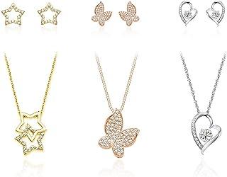 Pierre Cardin PXX0223 Set di gioielli in oro, argento e rodio con 3 collane e 3 orecchini di coppia in confezione di lusso