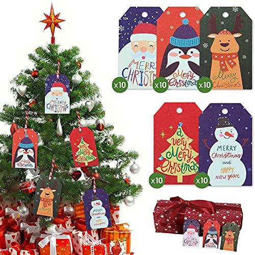 TOMEEK Etiqueta de Papel Kraft de Navidad Bolsa de Papel Kraft Etiquetas de Regalos Decoración de Regalo de Navidad (50...