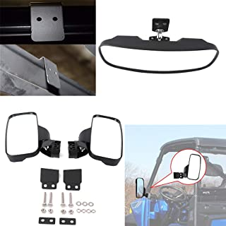 Ranger 570 900 XP Rear View Side Mirrors and Center Mirror for 2017 2018 2019 Polaris Ranger 900 XP with Factory Present Drop Down Mounting Tab and Lock n Ride Cab System