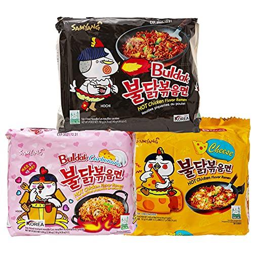 Kennenlernbox 15er Ramen Box | Samyang Hot Chicken Ramen Combo | 5er Pack Hot Chicken & 5er Pack Carbonara & 5er Pack Käse