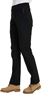 Women's Outdoor Windproof Waterproof Hiking Mountain Ski Pants Soft Shell Fleece Lined Trouser