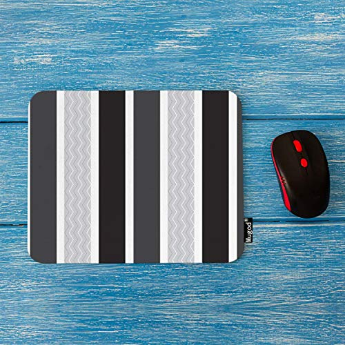 Mugod Mouse Pad White Silver Chevron Vertical Striped Pattern White Black Dark Grey Background Decor Gaming Mouse Pad Rectangle Non-Slip Rubber Mousepad for Computers Laptop 7.9x9.5 Inches