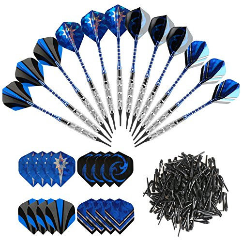 GWHOLE 18g Soft Dart with 16 Dart Flights and 200 Dart Soft Tip Points for Electronic Dartboard, Set of 12