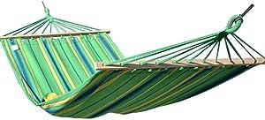 SUP-MANg Hamaca de Lona Hamaca portátil Individual al Aire Libre Jardín Camping Viaje Rayas Azules y Verdes 200x110cm (78.7x43.3in)