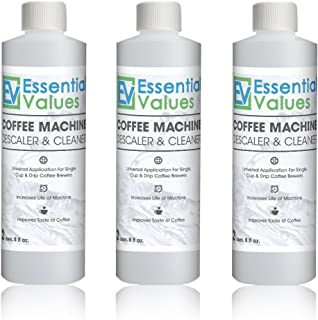 Essential Values Universal Descaling Solution (3 Pack / 6 Uses), Designed For Keurig, Nespresso, Delonghi and All Single Use Coffee and Espresso Machines - Proudly Made In USA