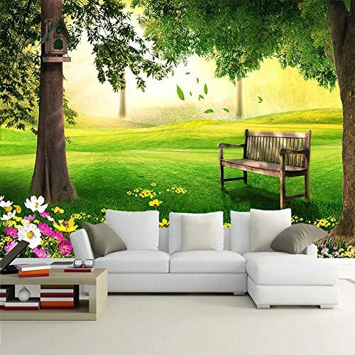 Benutzerdefiniertes Wandbild Grünes Gras Große Baumbank Natur Landschaft 3D Foto Wandmalerei Wohnzimmer Sofa Hintergrund Dekoration Tapete-400X280cm