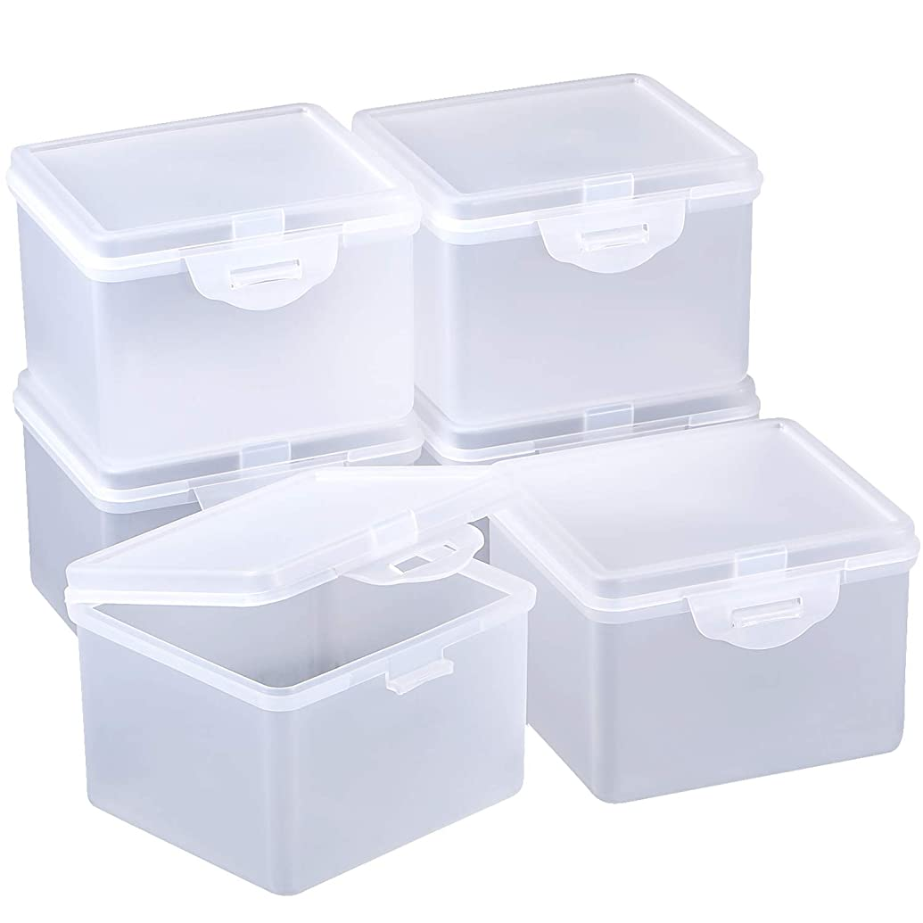 SATINIOR 6 Pack Clear Plastic Beads Storage Containers Box with Hinged Lid for Beads and More (3.85 x 3.46 x 2.75 Inch)