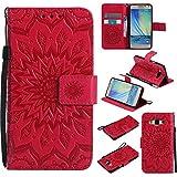 FQY-TEC Samsung Galaxy A5(2014) Coque / A500FU Coque, [Rouge] S[Cuir PU] et[TPU]...
