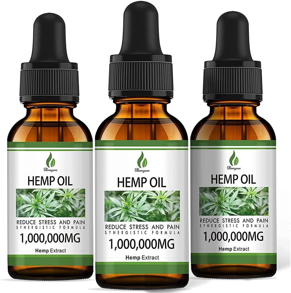 (1,000,000mg) 3 Pack Organic Hemp Oil Extract - Organically Grown in USA - Co2 Extraction - Hemp Extract Tincture Drops - Vegan, Non-GMO