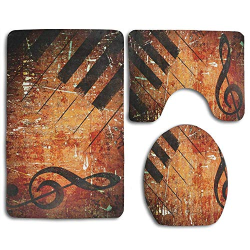 Hicyyu Distressed Retro Music Note with Piano Keyboard Bathroom Rug Mats Sets 3 Piece Toilet Carpet Rugs Includes Contour Mat and Lid Cover, Non Slip
