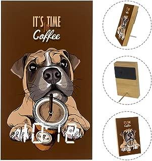 Boxer Dog Coffee Alarm Clock with USB Line Power Supply Desk Bedside Clocks