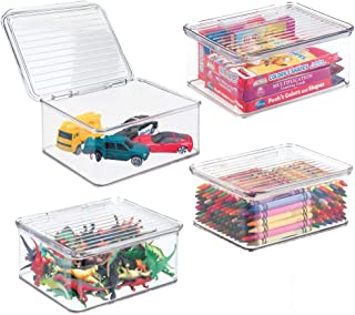 mDesign Plastic Stacking Organizer Toy Box with Attached Lid for Storage of Action Figures, Crayons, Markers, Building Blocks, Puzzles, Craft or School Supplies - 3