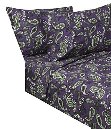 Marrikas Flannel Sheet Set Queen Purple Paisley