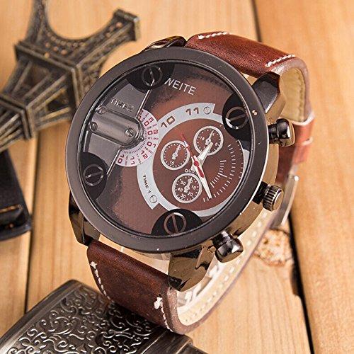 Reloj de pulsera para hombre Liusdh Moda Luxus, analógico, deportivo, carcasa de acero cuarzo, correa de piel (B-62,talla única)