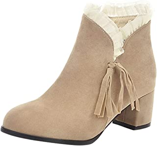 ⭐ Futurelove ⭐ Women's Square Ankle Boot Side Zipper Buckle Deco Laces High Stacked Block Heel Ankle Booties Tassel Short Boots