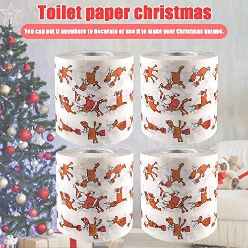 Papel higiénico de Navidad 4PCS, Rollo de Papel Divertido de Santa Claus para Uso en el baño o la Cocina, Serie...