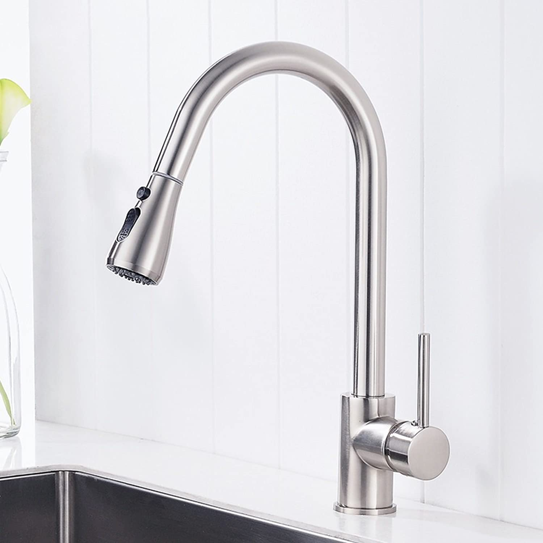 SJUN Heier und kalter Wasserhahn der Küche 360 ° drehender Pull-artiger Spülbeckenhahn