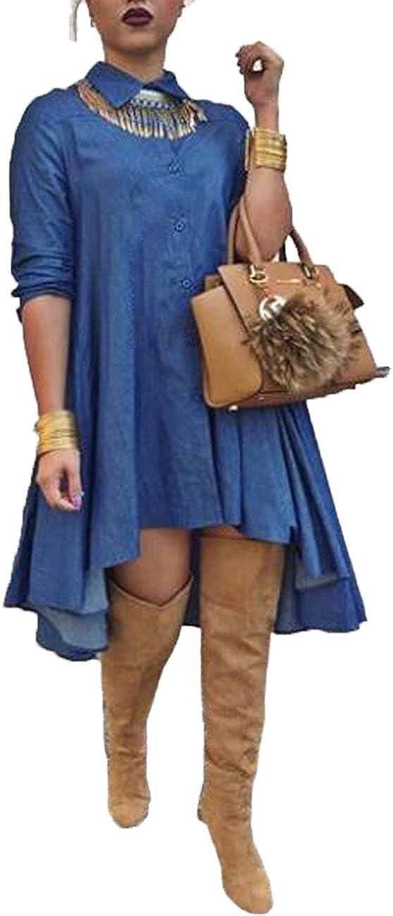 XUGWLKJ Women's Denim Dress Blouses Long Sleeve Swing Casual Dresses Blue