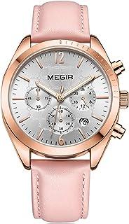 ساعات MEGIR للنساء الأزياء عارضة حزام جلد كرونوغراف ساعة يد فاخرة مقاومة للماء