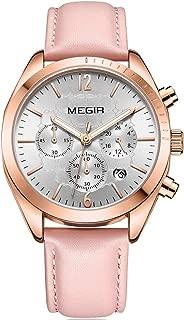 MEGIR Women's Luxury Waterproof Chronograph Quartz Watches Leather Stainless Steel Wristwatch for Lady Woman