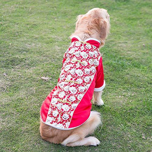 DishyKooker Husky-Kostüm für Hunde, warmer Wintermantel, Glückskatze, Neujahr, chinesische Tang-Dynastie, rot, XXXXXXL