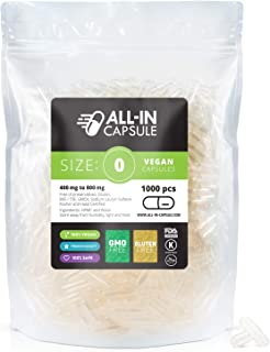 ALL-IN Capsule - 1000 Count Clear Empty Vegetarian Capsules Size 0 - Compatible with Capsule Filling Machine - Fillable with Powders of Your Choice