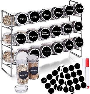 Lot de 18 pots à épices en acier inoxydable avec support à épices - Pour armoire de cuisine et plan de travail - Avec étiq...