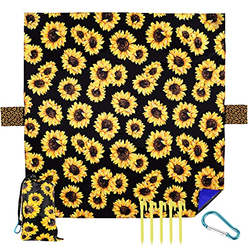 Outdoor Beach Blanket Picnic Mat - Water Proof Sand Free Foldable Durable Lightweight Compact Pocket Extra Large Heat Resistant with Storage Bag for Fun Leisure Travel,Camping,Hiking Sunflower Yellow