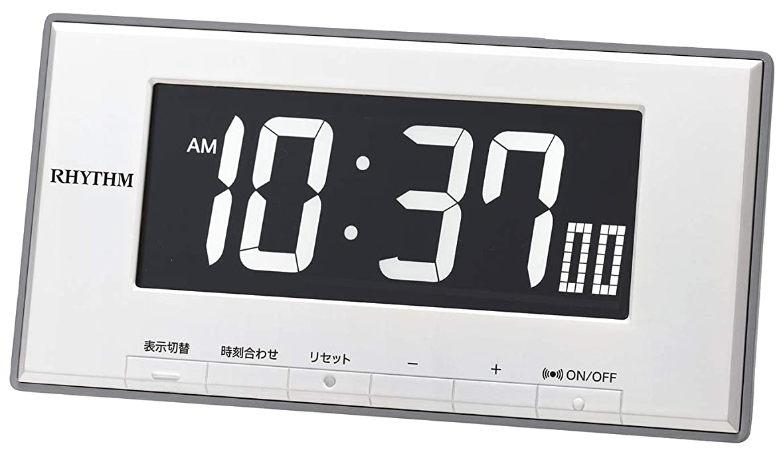 マサッチョ急襲意味のあるリズム時計工業(Rhythm) 置き時計 白 9.5x19x4.4cm 目覚まし時計 温度 湿度 カレンダー 表示切替式 LED 8RDA78SR03