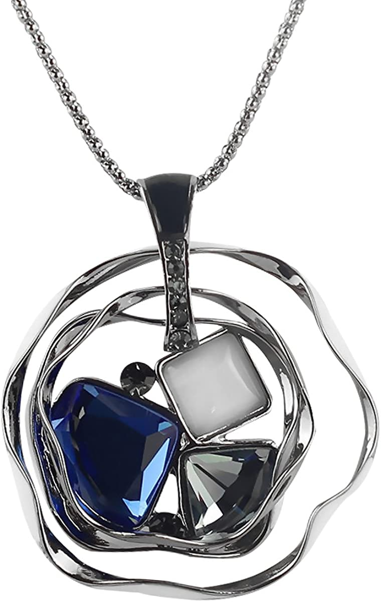 Merdia Long Chain Necklace for Elegant Women Pendant Necklace with Created Crystals