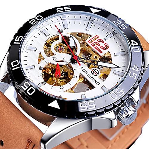 Excellent Reloj automático de Hombres con Luminosa Esfera de Cuero de Cuero Moda Reloj de Pulsera de Moda para Hombres Reloj mecánico automático,A06