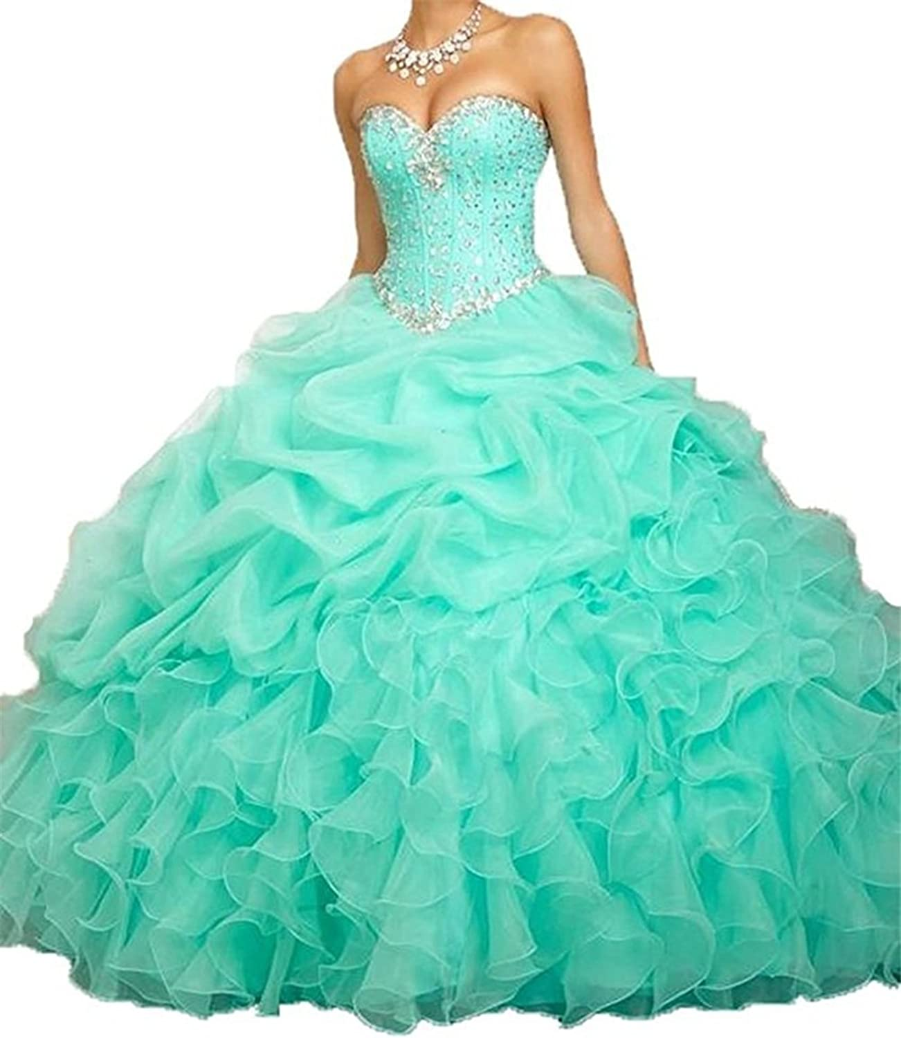 BEALEGAN Lady Women's Beaded Ball Gown Quinceanera Dresses Formal Prom Gown