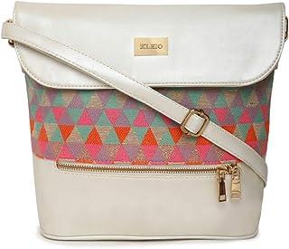 KLEIO Large PU Leather Jacquard Fabric Women Sling Hand Bag for Girls Ladies