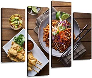 Beef pad Thai and Chicken satay Dinner viewed from Above Canvas Wall Art Hanging Paintings Modern Artwork Abstract Picture Prints Home Decoration Gift Unique Designed Framed 4 Panel